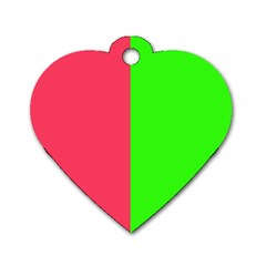 Neon Red Green Dog Tag Heart (Two Sides)
