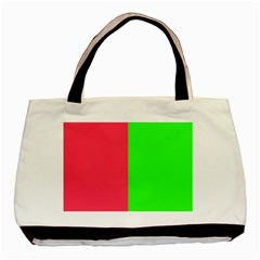 Neon Red Green Basic Tote Bag (Two Sides)