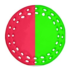 Neon Red Green Round Filigree Ornament (Two Sides)