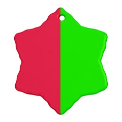 Neon Red Green Snowflake Ornament (Two Sides)