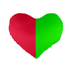 Neon Red Green Standard 16  Premium Heart Shape Cushions