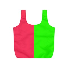 Neon Red Green Full Print Recycle Bags (s)