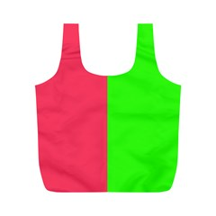 Neon Red Green Full Print Recycle Bags (M)