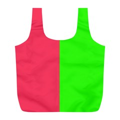 Neon Red Green Full Print Recycle Bags (L)