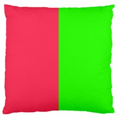 Neon Red Green Large Flano Cushion Case (two Sides)
