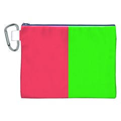 Neon Red Green Canvas Cosmetic Bag (XXL)