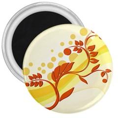 Floral Flower Gold Leaf Orange Circle 3  Magnets