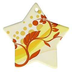 Floral Flower Gold Leaf Orange Circle Ornament (Star)