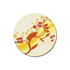 Floral Flower Gold Leaf Orange Circle Rubber Coaster (Round)