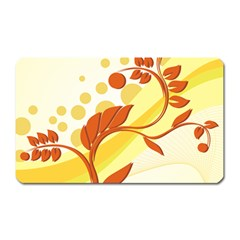 Floral Flower Gold Leaf Orange Circle Magnet (Rectangular)
