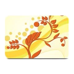 Floral Flower Gold Leaf Orange Circle Plate Mats