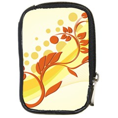 Floral Flower Gold Leaf Orange Circle Compact Camera Cases