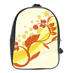 Floral Flower Gold Leaf Orange Circle School Bags(Large)