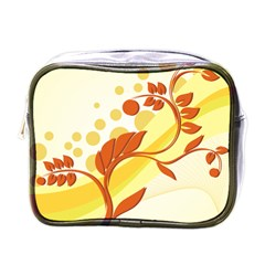 Floral Flower Gold Leaf Orange Circle Mini Toiletries Bags