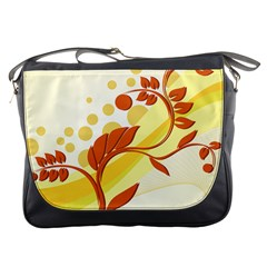 Floral Flower Gold Leaf Orange Circle Messenger Bags