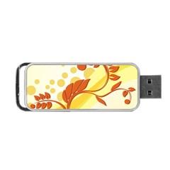 Floral Flower Gold Leaf Orange Circle Portable USB Flash (One Side)