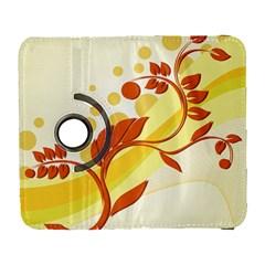 Floral Flower Gold Leaf Orange Circle Galaxy S3 (Flip/Folio)