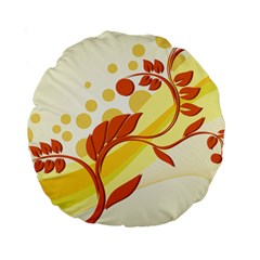 Floral Flower Gold Leaf Orange Circle Standard 15  Premium Round Cushions