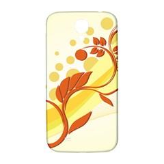 Floral Flower Gold Leaf Orange Circle Samsung Galaxy S4 I9500/I9505  Hardshell Back Case