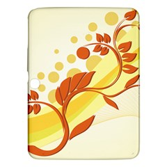 Floral Flower Gold Leaf Orange Circle Samsung Galaxy Tab 3 (10.1 ) P5200 Hardshell Case