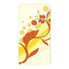 Floral Flower Gold Leaf Orange Circle Samsung Galaxy Note 3 N9005 Hardshell Back Case