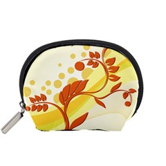 Floral Flower Gold Leaf Orange Circle Accessory Pouches (Small)