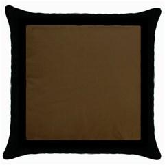 Plain Brown Throw Pillow Case (Black)