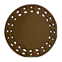 Plain Brown Round Filigree Ornament (Two Sides)