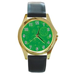 Green Floral Star Butterfly Flower Round Gold Metal Watch