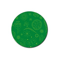 Green Floral Star Butterfly Flower Rubber Round Coaster (4 pack)