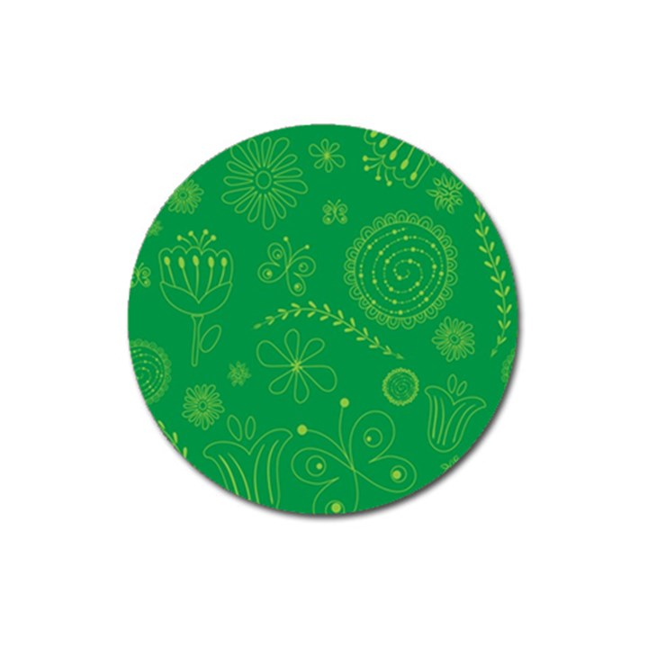 Green Floral Star Butterfly Flower Magnet 3  (Round)