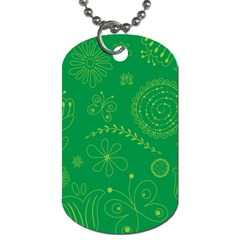 Green Floral Star Butterfly Flower Dog Tag (Two Sides)