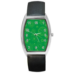 Green Floral Star Butterfly Flower Barrel Style Metal Watch