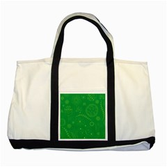 Green Floral Star Butterfly Flower Two Tone Tote Bag