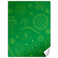 Green Floral Star Butterfly Flower Canvas 36  x 48