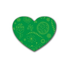 Green Floral Star Butterfly Flower Rubber Coaster (Heart)