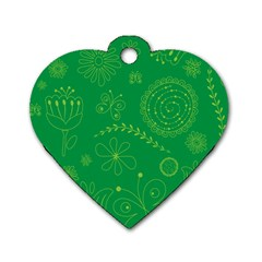 Green Floral Star Butterfly Flower Dog Tag Heart (Two Sides)