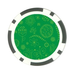 Green Floral Star Butterfly Flower Poker Chip Card Guard (10 pack)