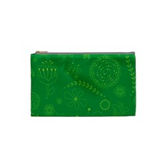 Green Floral Star Butterfly Flower Cosmetic Bag (Small)