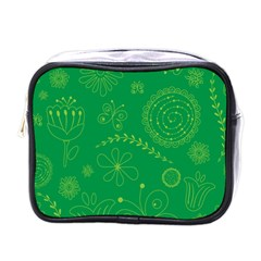 Green Floral Star Butterfly Flower Mini Toiletries Bags