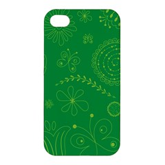 Green Floral Star Butterfly Flower Apple iPhone 4/4S Hardshell Case