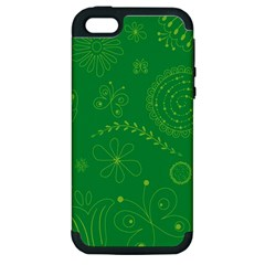Green Floral Star Butterfly Flower Apple iPhone 5 Hardshell Case (PC+Silicone)