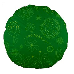 Green Floral Star Butterfly Flower Large 18  Premium Round Cushions