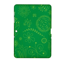 Green Floral Star Butterfly Flower Samsung Galaxy Tab 2 (10.1 ) P5100 Hardshell Case