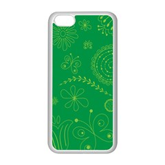 Green Floral Star Butterfly Flower Apple iPhone 5C Seamless Case (White)