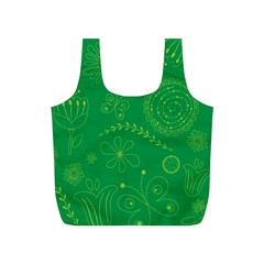Green Floral Star Butterfly Flower Full Print Recycle Bags (S)