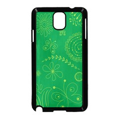 Green Floral Star Butterfly Flower Samsung Galaxy Note 3 Neo Hardshell Case (Black)