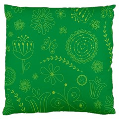 Green Floral Star Butterfly Flower Standard Flano Cushion Case (one Side)