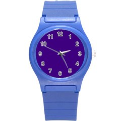 Plain Violet Purple Round Plastic Sport Watch (S)