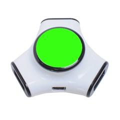 Plain Green 3-Port USB Hub